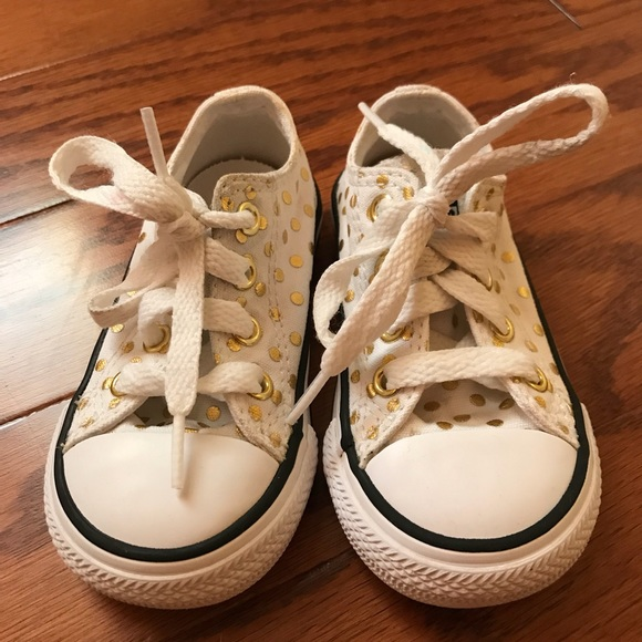 5151beb580aa Converse Other - Gold Polka Dot Toddler Converse Chuck Taylor 5